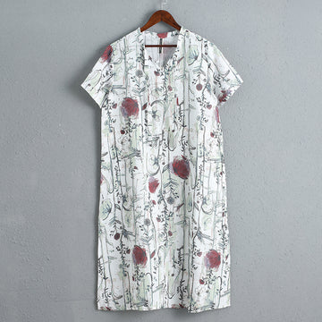Casual Short Sleeve Linen Loose Printing Dress