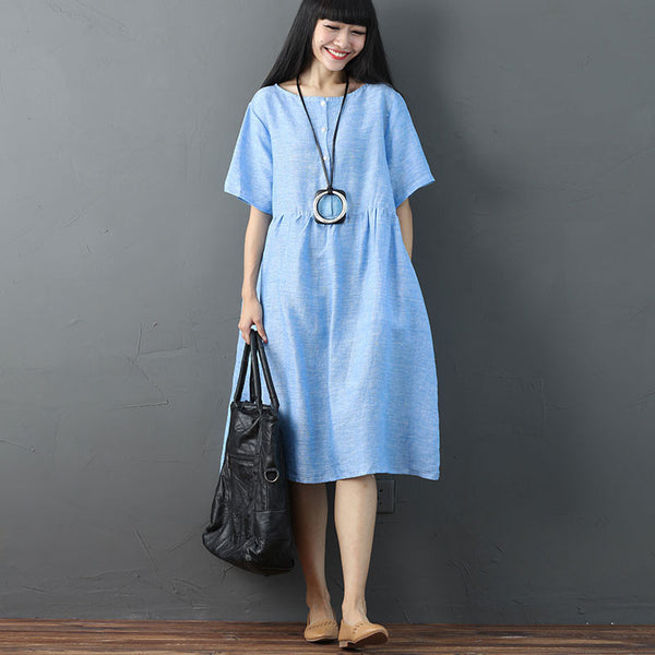 Women Solid Vintage Pleated Short Sleeve Light Blue Dress - Buykud