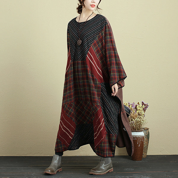 Splicing Linen Round Neck Casual Loose Lattice Dress For Women - Buykud