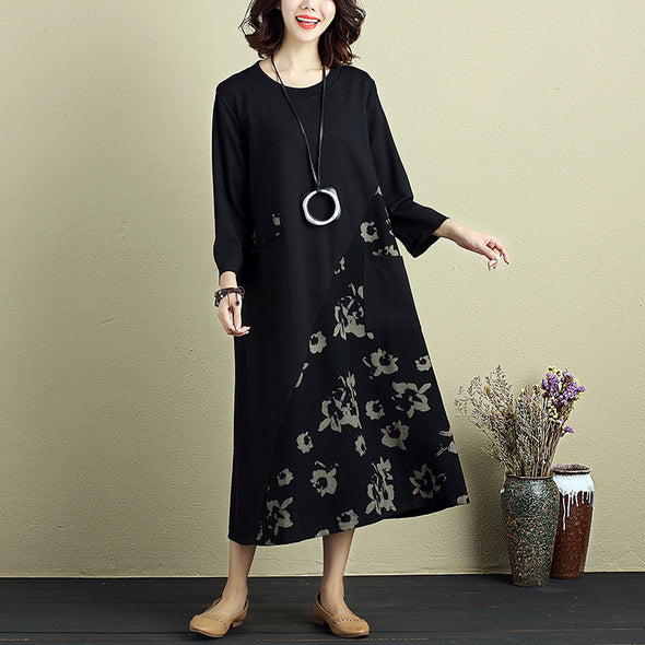 Fashion Women Round Neck Three Quarter Sleeve Splicing Printing Dress - Buykud