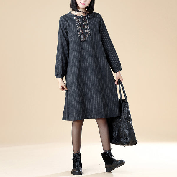 Polo Collar Retro Long Sleeve Embroidery Stripe Side Slit Dress - Buykud