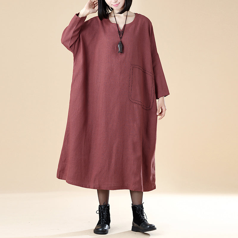 Cotton Linen Women Autumn Round Neck Long Sleeve Loose Dress - Buykud