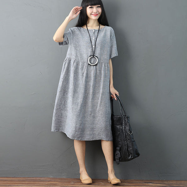 Women Solid Vintage Pleated Short Sleeve Light Gray Dress