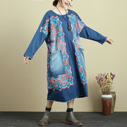 Retro Printing Round Neck Casual Autumn Deep Blue Denim Dress For Women - Buykud