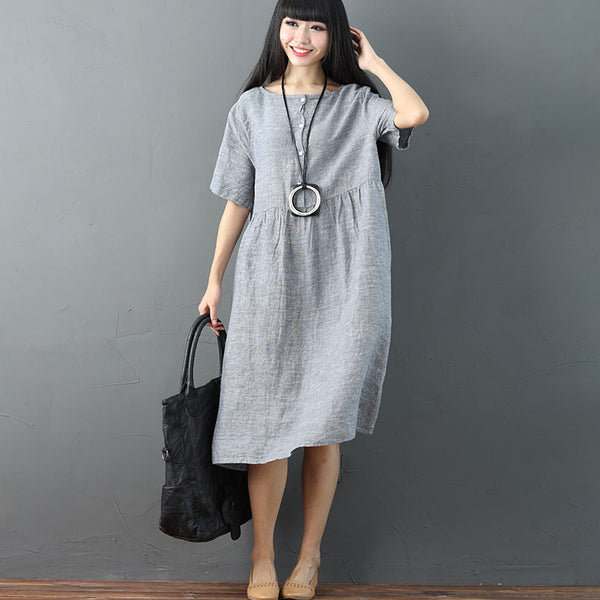 Women Solid Vintage Pleated Short Sleeve Light Gray Dress - Buykud