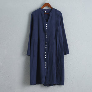 Women Long Sleeve Blue Loose Casual Dress