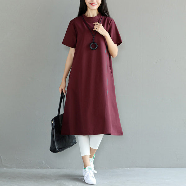 Loose Women Cotton Casual Red Dress