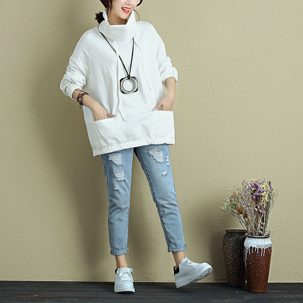 Women White Long Sleeve Pockets Drawstring Casual Loose Shirt - Buykud