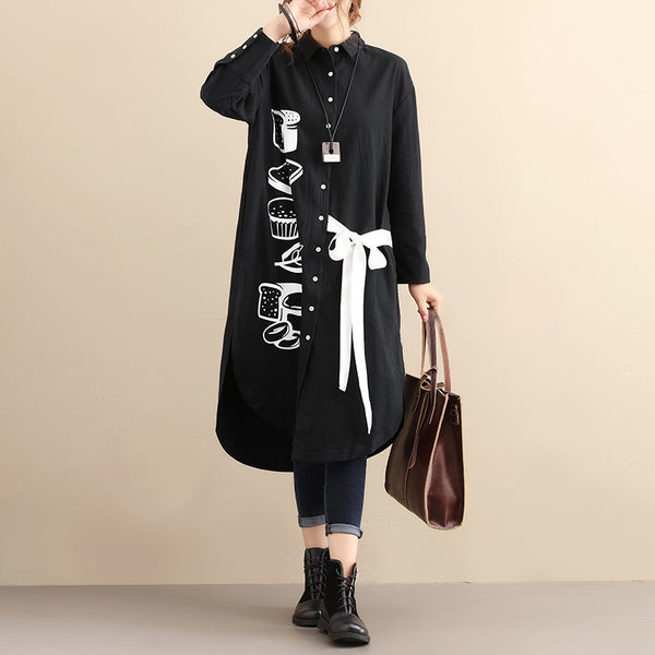 Autumn Printing Long Sleeve Women Casual Black Blouse - Buykud