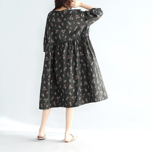 Women Loose Casual Floral Black Linen Dress - Buykud