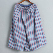 Linen Women Wide Leg Pants Casual Striped Pants