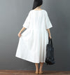 Splicing V Neck Literature Pleated Loose Women Summer White Dress - Buykud