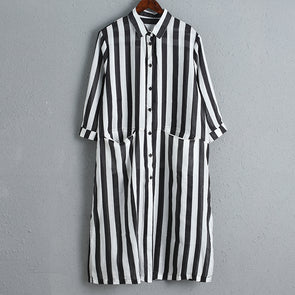 Thin Striped Loose Women Casual Dress