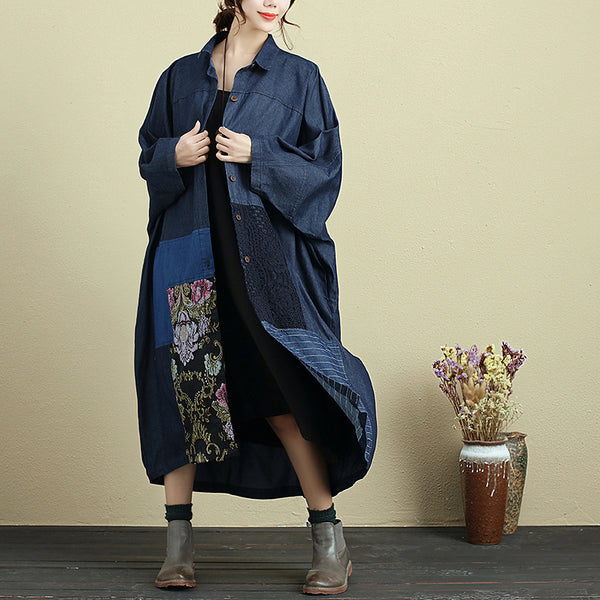 Splicing Baggy Shoulder Sleeve Loose Autumn Coat For Women - Buykud