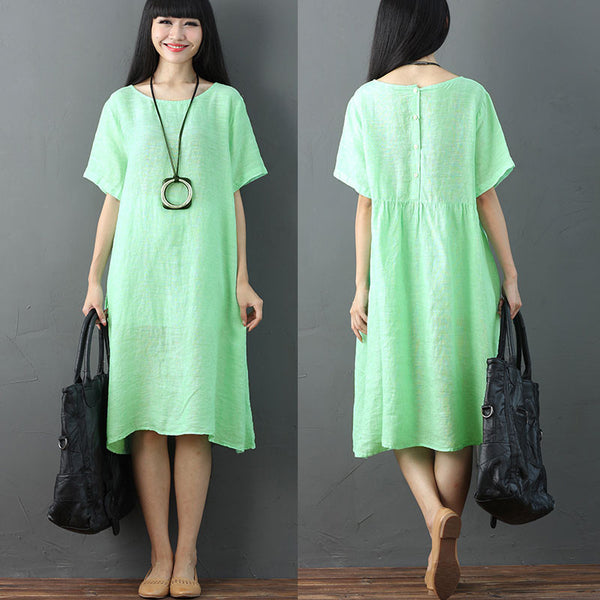 Women Solid Vintage Pleated Short Sleeve Green Dress