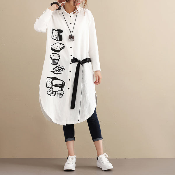 Autumn Printing Long Sleeve Women Casual White Blouse
