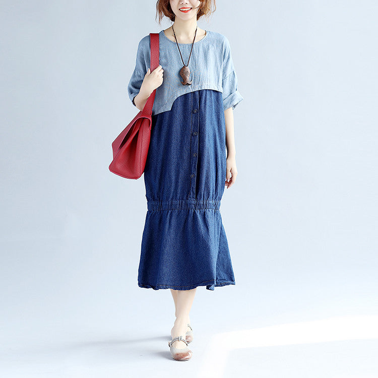 Splicing Cotton Loose Women Casual Gray Dress - Buykud