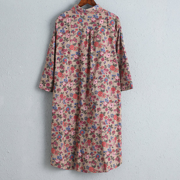 Printed Floral Women Dress Three Quarter Sleeve Shirt