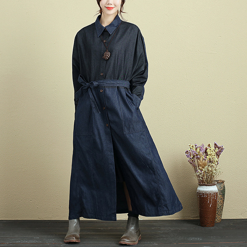 Splicing Lacing Loose Long Sleeve Autumn Denim Coat For Women - Buykud