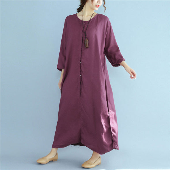 Loose Linen Long Sleeve Pocket Buttons  Women Wine Red Dress - Buykud