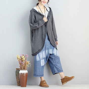 Women Long Sleeve Pockets Gray Dot Hoodies Coat - Buykud