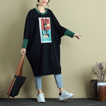 Women Long Sleeve Pockets Splicing Cartoon Applique Black Dress - Buykud