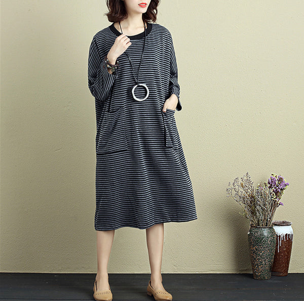 Women Round Neck Shoulder Sleeve Gray Black Stripe Dress - Buykud