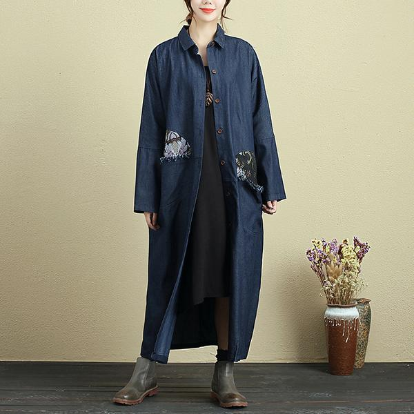 Loose Polo Collar Long Sleeve Denim Coat For Women