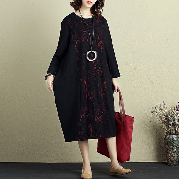 Summer Casual Women Round Neck Long Sleeve Printing Dress - Buykud