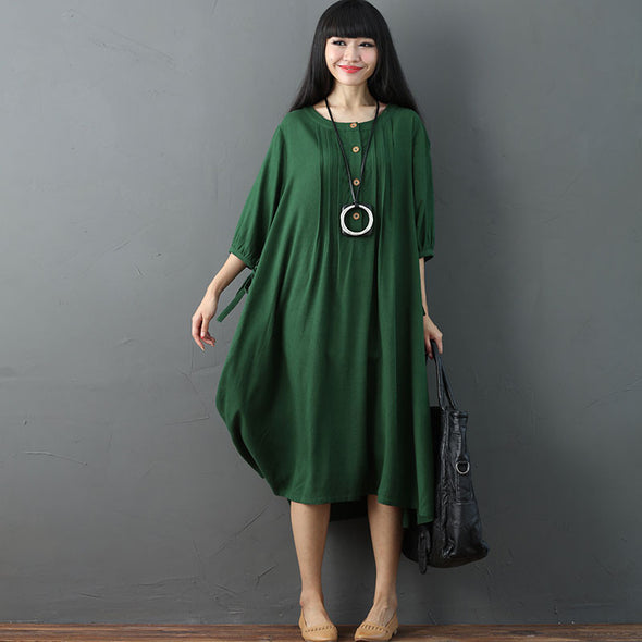 Round Neck Casual Green Simple Dress - Buykud