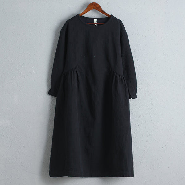 Long Sleeves Women Black Thick Dress for Autumn Spring
