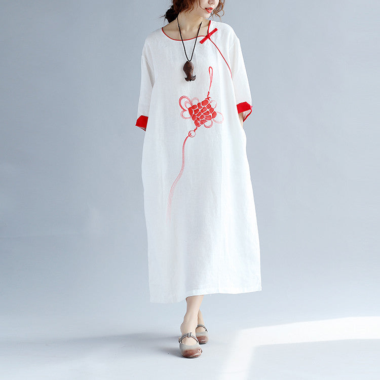 Ethnic Linen Loose Retro Women White Dress - Buykud