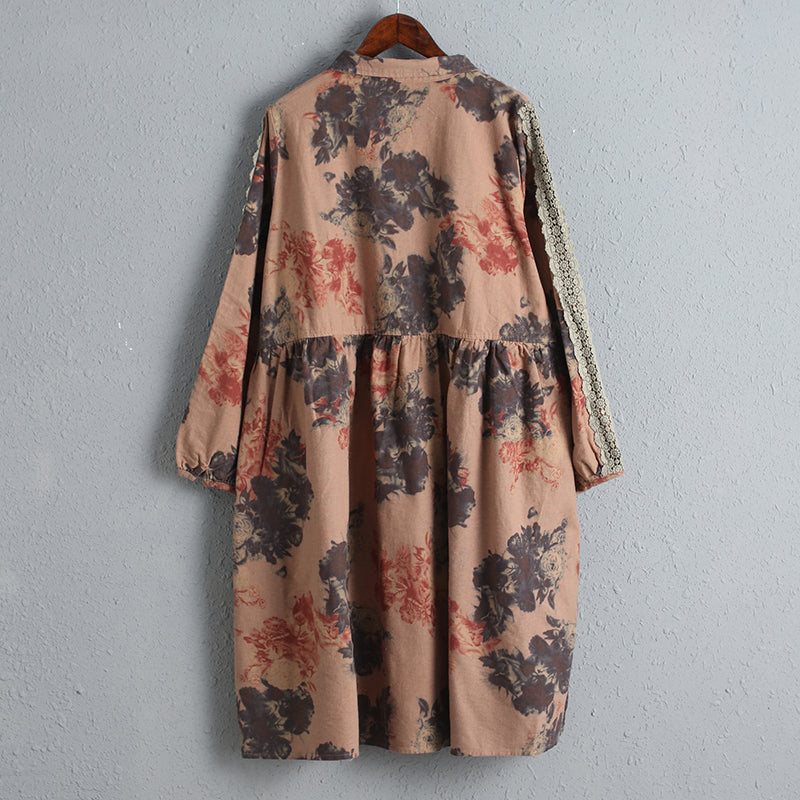 Women Printing Dress Long Sleeve Spring Cotton Dress