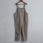 Women Casual Wide Leg Flax Cotton Gray Jumpsuit