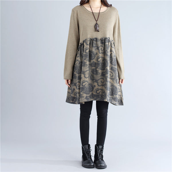 Stringy Selvedge Autumn Literature Printing Knitting Coffee Dress - Buykud