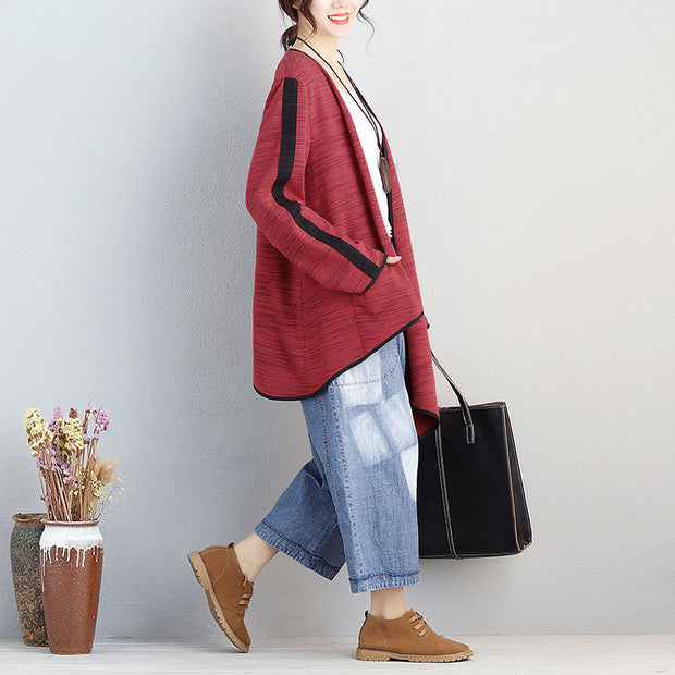 Cotton Open-Front Long Sleeve Stripe Pockets Irregular Coat - Buykud