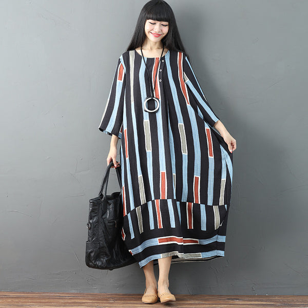 Women Casual Long Sleeves Literature Loose Colorful Stripe Dress - Buykud