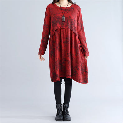 Casual Autumn Pleated Retro Printing Knitting Red Dress - Buykud