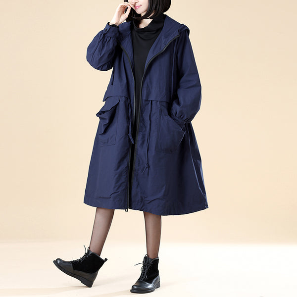 Hoodies Zipper Long Sleeve Drawstring Lacing Navy Blue Coat - Buykud