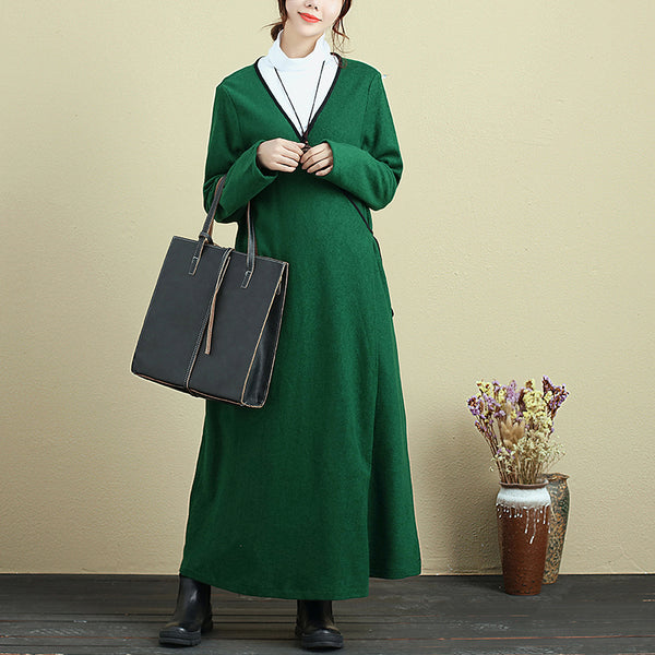 Simple Lacing Long Sleeve Women Green Coat - Buykud