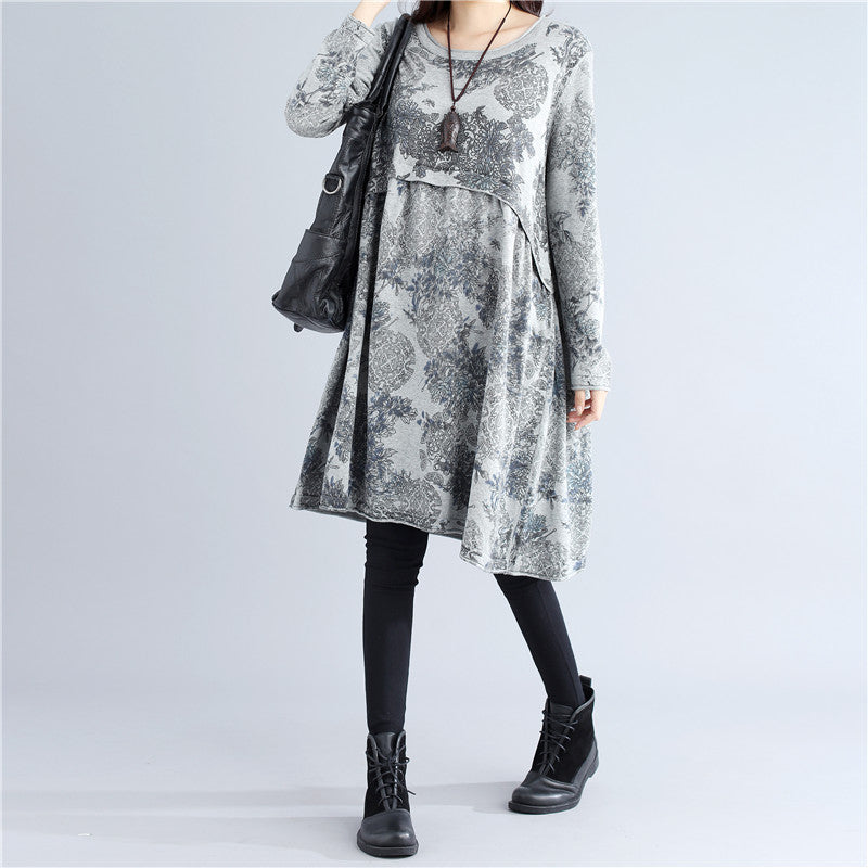 Casual Autumn Pleated Retro Printing Knitting Gray Dress - Buykud