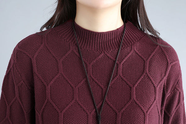 Women Round Neck Long Sleeve Wine Red Sweater Dress - Buykud