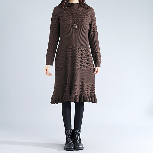 Women Cotton Jacquard Long Sleeve Coffee Knitted Sweater Dress - Buykud
