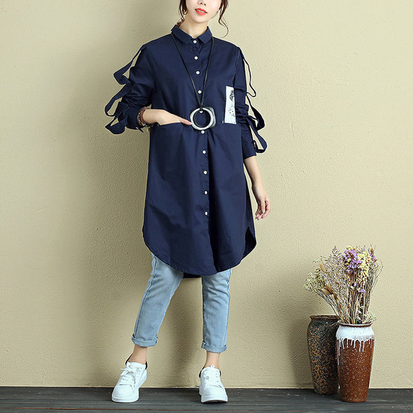 Women Polo Collar Single Breasted Long Sleeve Pockets Applique Dress - Buykud