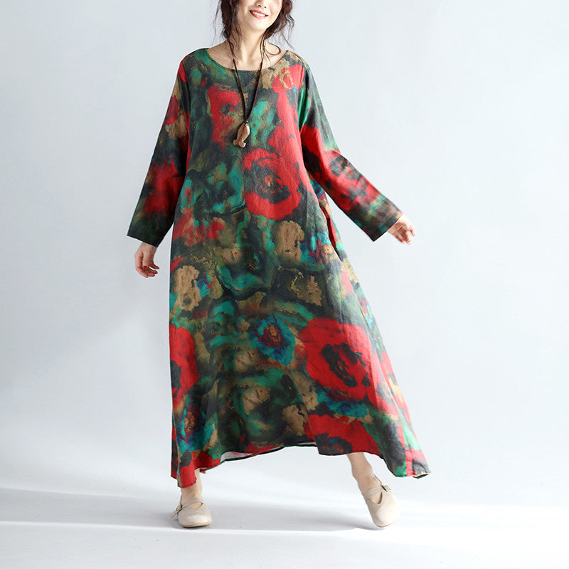 Floral Loose Women Casual Retro Linen Dress - Buykud