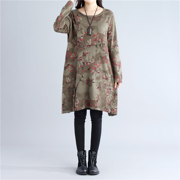 Ethnic Style Casual Autumn Printing Frog Dark Green Dress - Buykud