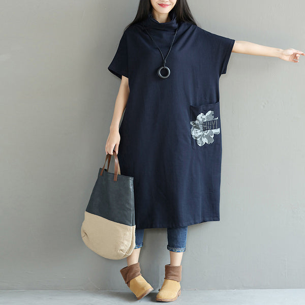 Turtleneck Loose Printing Cotton Straight Casual Women Dress - Buykud