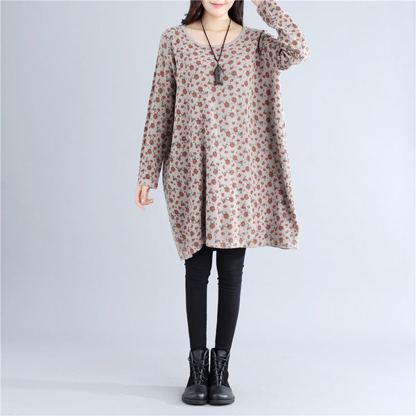 Literature Women Autumn Loose Printing Long Sleeves Gray Dress - Buykud