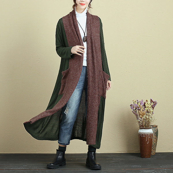 Loose Splicing Shoulder Sleeve Knitted Coat For Women - Buykud