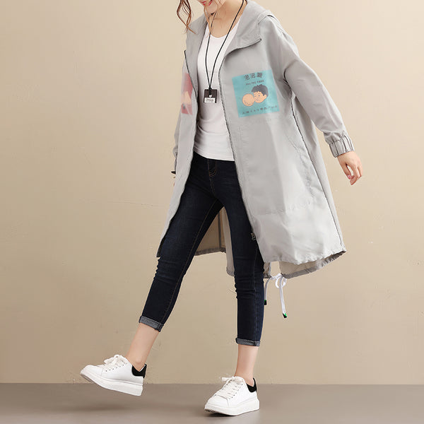 Hoodies Long Sleeve Side Slit Zipper Cartoon Veil Gray Cardigan Coat - Buykud
